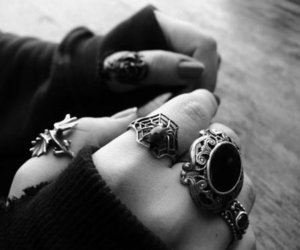 rings, black and white, and black image