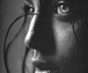 girl, black and white, and eyes image