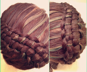braid, brunette, and girly image