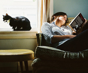 cat, girl, and book image