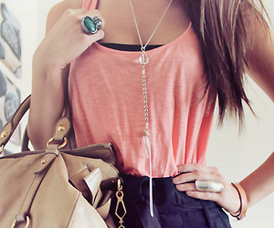 bag, dress, and necklace image