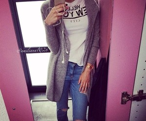 cardigan, outfit, and style image