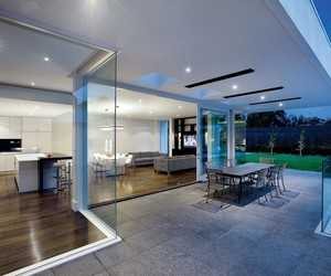 architecture., open room, and grey tile flooring image