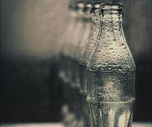 black and white, bottle, and photography image