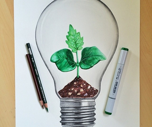 lightbulb, nature, and plant image