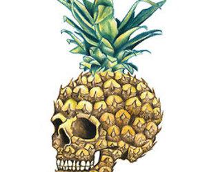 pineapple, wallpaper, and skull image