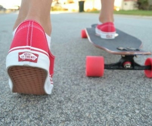 off, red, and skateboard image