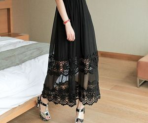 black dress, lace, and long dress image