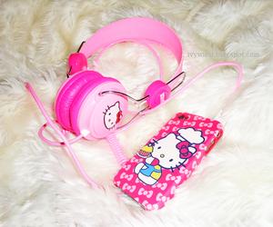 headphones, hello kitty, and iphone image