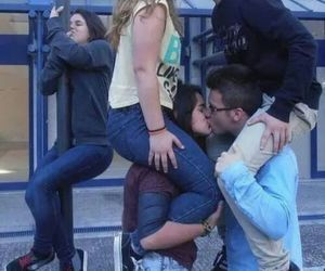 couples, funny, and kissing image