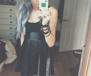 colored hair, grunge, and dress image