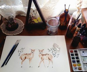 art, deer, and vintage image