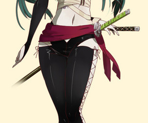 bandage, samurai, and green hair image