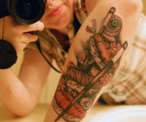 tattoo, girl, and sushi image