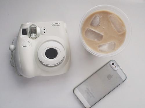 coffee, iphone, and polaroid image