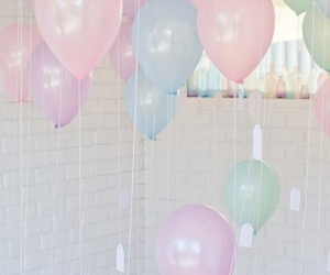 balloons, pastel, and pink image