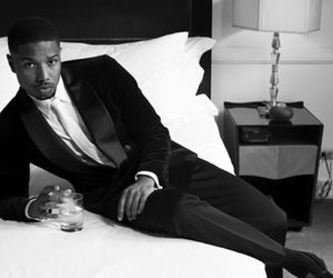 b&w, bed, and guy image