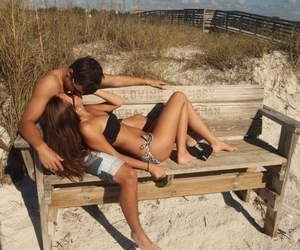 beach, couple, and bench image