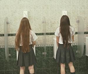 bathroom, girls, and grunge image