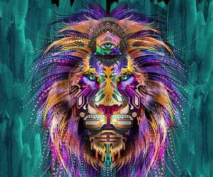 lion, art, and trippy image