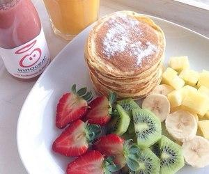 fruit, pancakes, and strawberry image