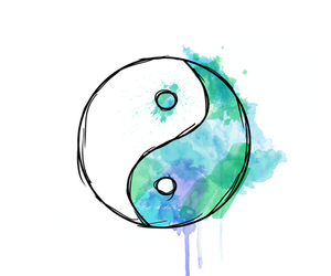 blue, ying yang, and art image