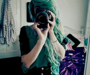 <3, green hair, and cat image