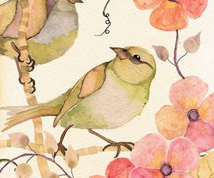 art, painting, and birds image