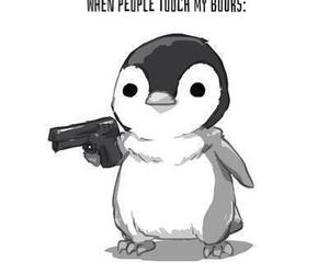 penguin, gun, and book image