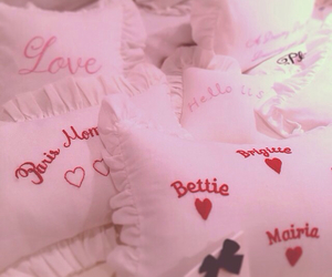 bed, heart, and pillow image