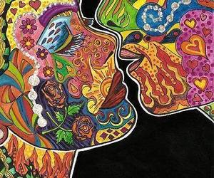 kiss, love, and psychedelic image