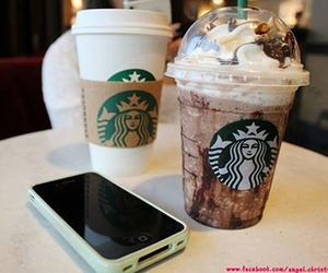 starbucks, iphone, and drink image