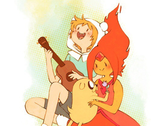 finn, adventure time, and flame princess image