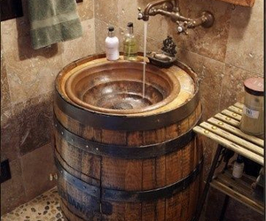 barrel, bathroom, and decoration image