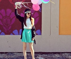 girl, fashion, and balloons image
