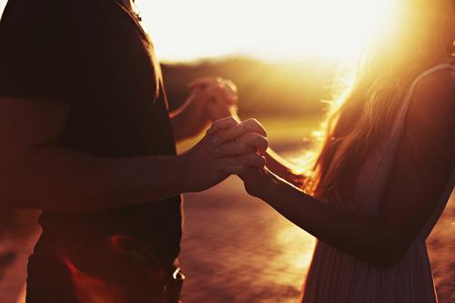 couple, sunlight, and handinhand image