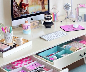 pink, room, and desk image