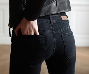 ass, bum, and leather jacket image