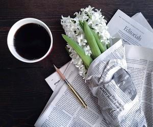 coffee, flowers, and newspaper image