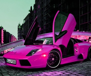 car, pink, and Lamborghini image