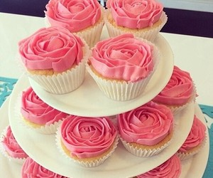 pink, rose, and cupcake image