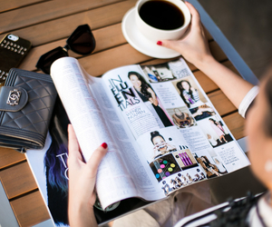 fashion, magazine, and coffee image