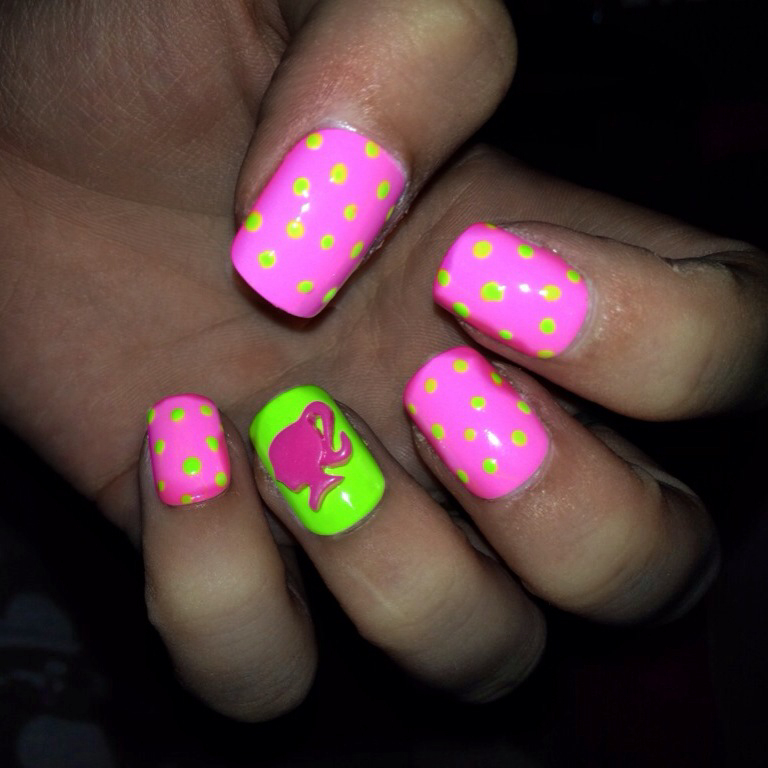 Neon pink & green nails with Barbie logo 💗 on We Heart It