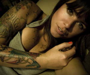 femme, freckles, and tattoo image