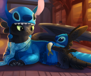 stitch, disney, and toothless image