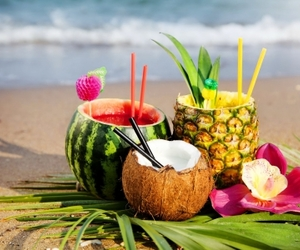 beach, summer, and fruit image