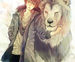 animal, b&w, and boy image