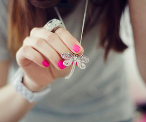 pink, necklace, and nails image