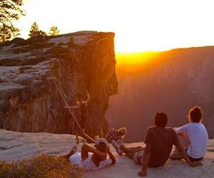 sunset, mountains, and friends image