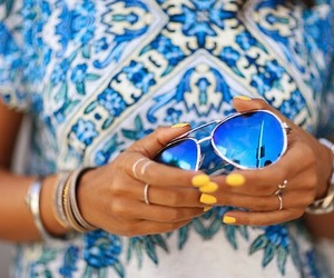 blue, nails, and sunglass image